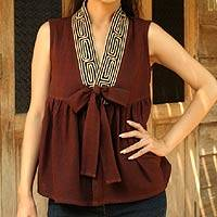 Cotton blouse, 'Relax in Brown' - Unique Thai Cotton Blouse