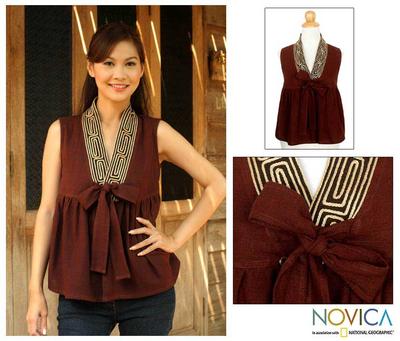 Cotton blouse, 'Relax in Brown' - Unique Thai Cotton Blouse
