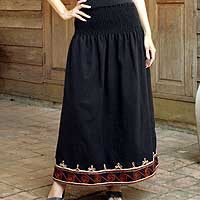 Cotton skirt, 'Flirt in Black' - Fair Trade Women's Maxi Skirt
