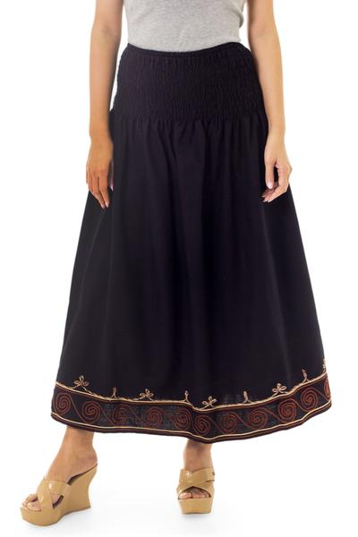 Cotton skirt, 'Flirt in Black' - Fair Trade Women's Maxi Skirt