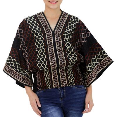 Cotton blouse, 'Lanna Pride' - Women's Geometric Patterned Top