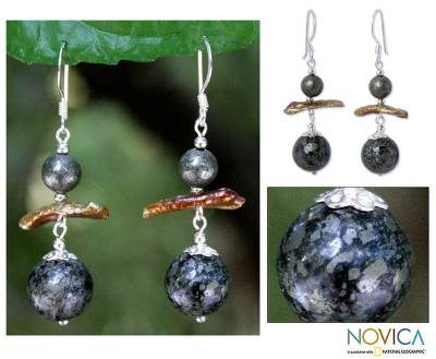 Pearl and chalcopyrite dangle earrings, 'Ode to Night' - Pearl and Chalcopyrite Dangle Earrings
