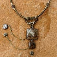 Pyrite and bronzite pendant necklace, 'Ode to Chic' - Unique Bronzite and Pyrite Pendant Necklace