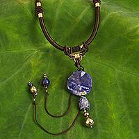 Lapis lazuli and sodalite pendant necklace, 'Wild Blue' - Hand Made Sodalite Necklace from Thailand