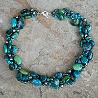 Pearl choker, 'Sea Breeze' - Fair Trade Beaded Serpentine and Pearl Choker Necklace