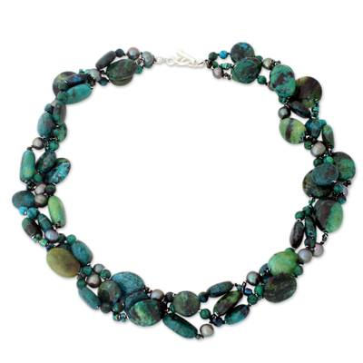 Pearl choker, 'Sea Breeze' - Beaded Serpentine and Pearl Choker Necklace