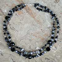 Onyx and tourmalinated quartz beaded necklace, 'Opulent Black'