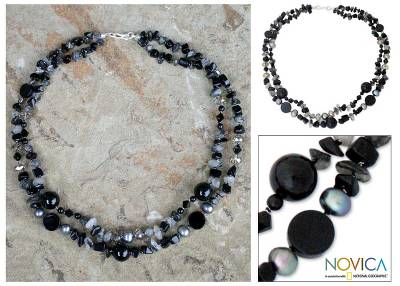 Onyx and tourmalinated quartz beaded necklace, 'Opulent Black' - Beaded Quartz and Onyx Necklace