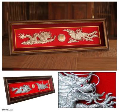 Aluminum repousse panel, 'The Dragon and the Phoenix I' - Aluminum repousse panel
