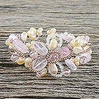 Pearl and rose quartz floral bracelet, 'Honey Peach' - Pearl and Rose Quartz Flower Bracelet