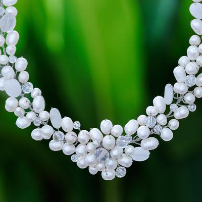 Pearl and quartz choker, 'Bridal Bouquet' - Bridal Pearl Necklace