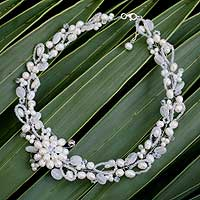 Pearl and quartz choker, 'Iridescent' - Handcrafted Floral Beaded Quartz and Pearl Necklace