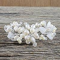 Pearl and quartz flower bracelet, 'Iridescent' - Pearl and Quartz Flower Bracelet