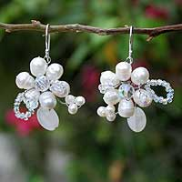 Pearl and quartz flower earrings, 'Iridescent' - Pearl and Quartz Flower Earrings