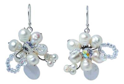 Pearl and Quartz Flower Earrings
