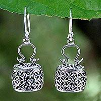 Sterling silver dangle earrings, 'Evening Bag' - Handcrafted Sterling Silver Dangle Earrings