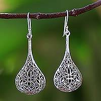 Sterling silver dangle earrings, 'Filigree Teardrop'