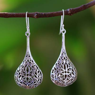 Sterling silver dangle earrings, Filigree Teardrop