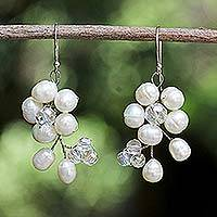 Pearl cluster earrings, 'Glamour' - Pearl Cluster Earrings from Thailand