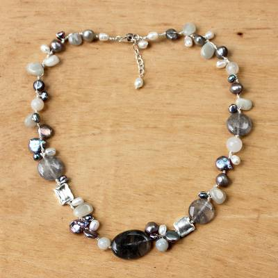 Pearl and moonstone necklace, 'Midnight Sea' - Pearl and Quartz Beaded Necklace