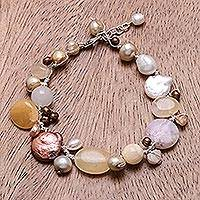 Pearl and quartz beaded bracelet, 'Lemon Honey' - Pearl and Quartz Beaded Bracelet