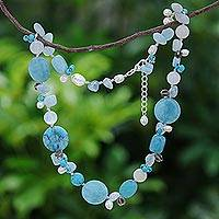 Pearl and aquamarine necklace, 'Blue Islands' - Unique Beaded Turquoise Colored Necklace