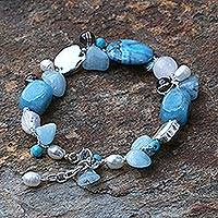 Pearl and aquamarine beaded bracelet, 'Blue Islands' - Fair Trade Multigem Beaded Bracelet
