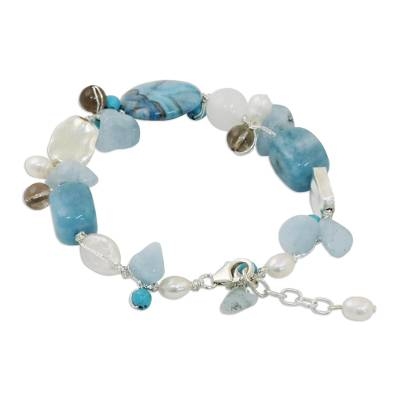 Pearl and aquamarine beaded bracelet, 'Blue Islands' - Fair Trade Multigem Beaded Bracelet