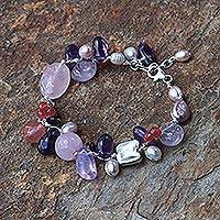 Pearl and amethyst beaded bracelet, 'Lilac Rose'