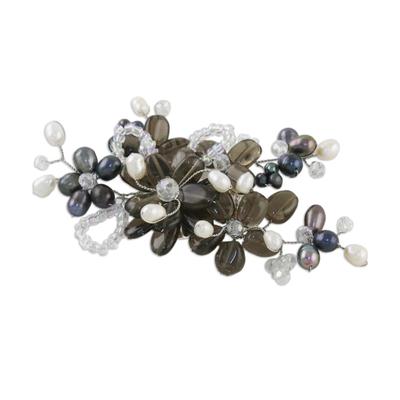 Handcrafted Floral Smoky Quartz Brooch Pin