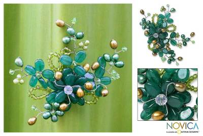 Pearl brooch pin, 'Floral Mint' - Handcrafted Floral Quartz Brooch Pin