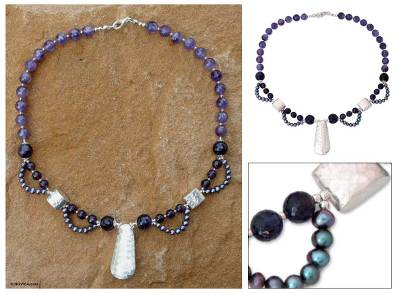 Pearl and amethyst pendant necklace, 'Hill Tribe Dancer' - Pearl and amethyst pendant necklace