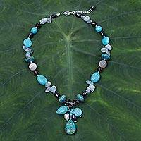 Multi-gemstone beaded choker, 'Sky Goddess' - Unique Multi-Gemstone Choker Necklace from Thailand