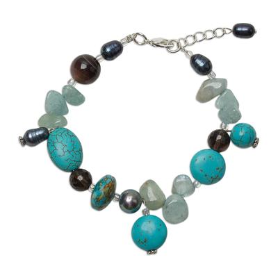 Pearl and Kyanite Beaded Bracelet