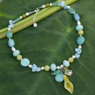 Pearl and aquamarine choker, 'Goddess' - Artisan Crafted Thai Choker
