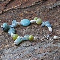 Pearl and aquamarine bracelet, 'Goddess' - Unique Beaded Multigem Bracelet