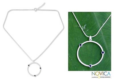 Sapphire pendant necklace, 'Blue Meteors' - Sterling Silver and Sapphire Pendant Necklace