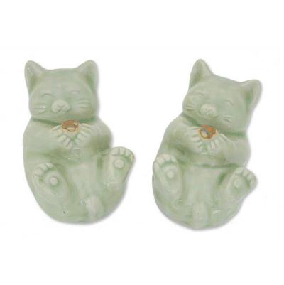 Celadon Ceramic Cat Statuettes (Pair)