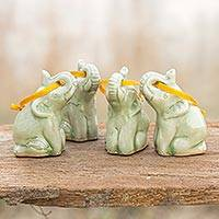 Celadon ceramic ornaments, 'Green Elephant Heralds' (set of 4) - Hand Made Celadon Ceramic Christmas Ornaments (Set of 4)