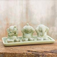 Celadon ceramic figurines, 'Elephant Life Lessons' (set of 3) - Celadon ceramic figurines (Set of 3)