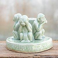 Celadon ceramic statuette, 'Wise Monkeys' - Handcrafted Celadon Ceramic Sculpture