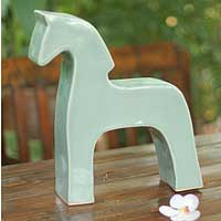 Celadon ceramic sculpture, 'Blue Thai Stallion' - Celadon ceramic sculpture