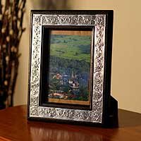 Nickel and wood photo frame, 'Thai Clouds' (5x7) - Nickel and wood photo frame (5x7)