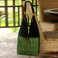 Cotton sling tote bag, 'Thai Emerald'