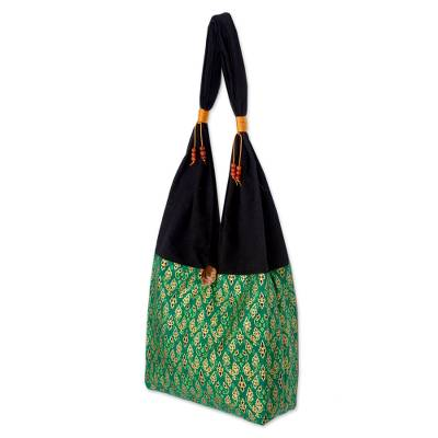 Cotton sling tote bag, 'Thai Emerald' - Hand Crafted Cotton Shoulder Bag