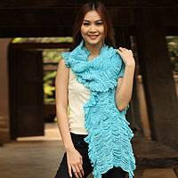 Cotton scarf, 'Wild Turquoise' - Cotton scarf