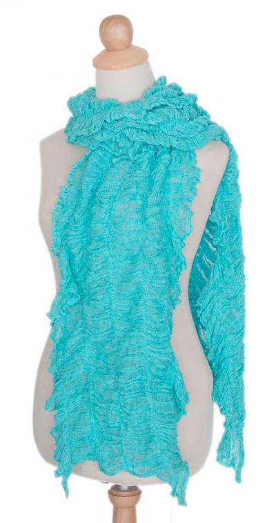 Artisan Crafted Turquoise Blue Frilly Cotton Crocheted Knit Scarf