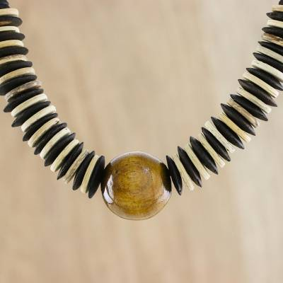 Coconut shell beaded necklace, 'Mocha Coco' - Coconut shell beaded necklace