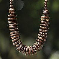 Coconut shell beaded necklace, 'Natural Coco' - Handcrafted Coconut Shell Beaded Necklace