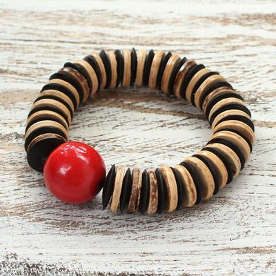 Coconut shell beaded bracelet, 'Cherry Coco' - Unique Coconut Shell Stretch Bracelet